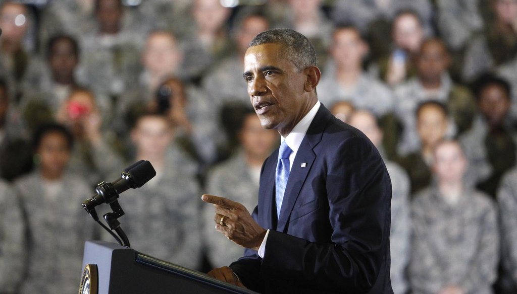 President Barack Obama addresses the group of soldiers at MacDill AFB in Tampa, Fla., Sept. 17, 2014.  (James Borchuck/Tampa Bay Times)