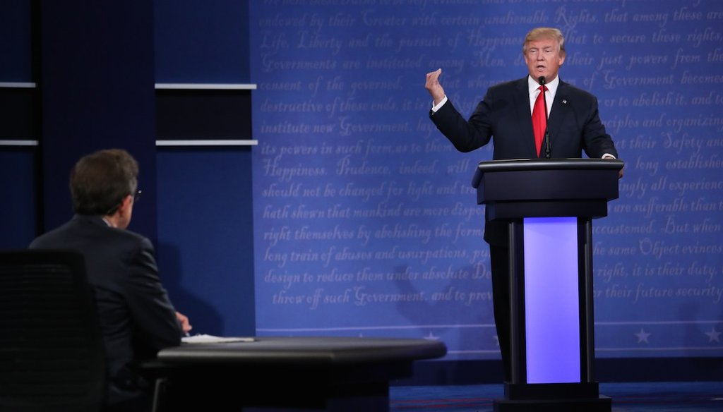 Donald Trump speaks during a presidential debate with Hillary Clinton at the University of Nevada, Las Vegas, Oct. 19, 2016. (Josh Haner/The New York Times)