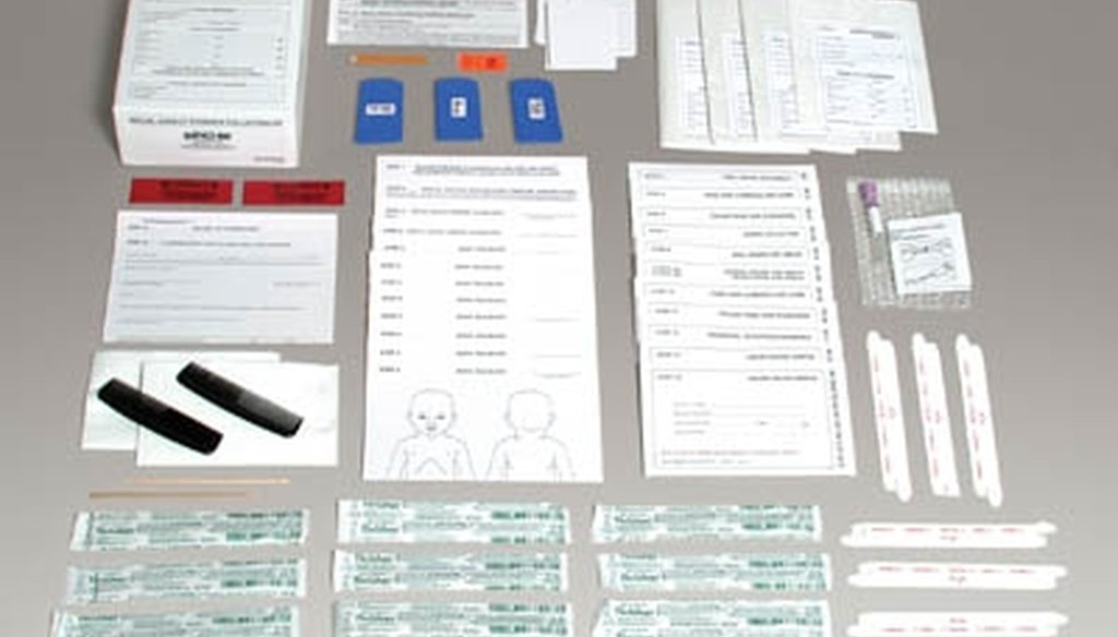 A sexual assault evidence collection kit from Sirchie includes legal and medical forms, oral swabs, hair combs and containers for clothes, hair, fingernails, blood and saliva (Sirchie photo).