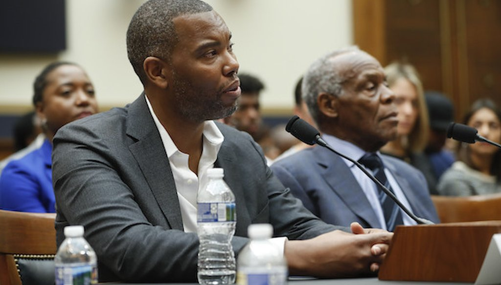 Author Ta-Nehisi Coates, left, and Actor Danny Glover, right, testify about reparation for the descendants of slaves during a House subcommittee hearing. (AP)