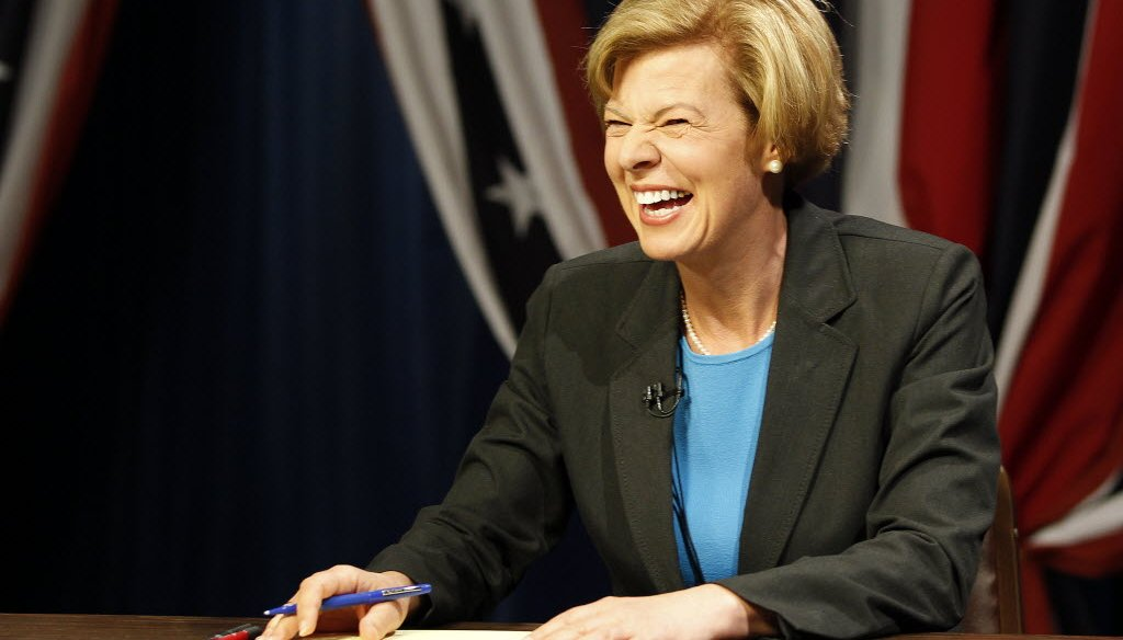 Democratic U.S. Senate candidate Tammy Baldwin, taken at the race's first debate.