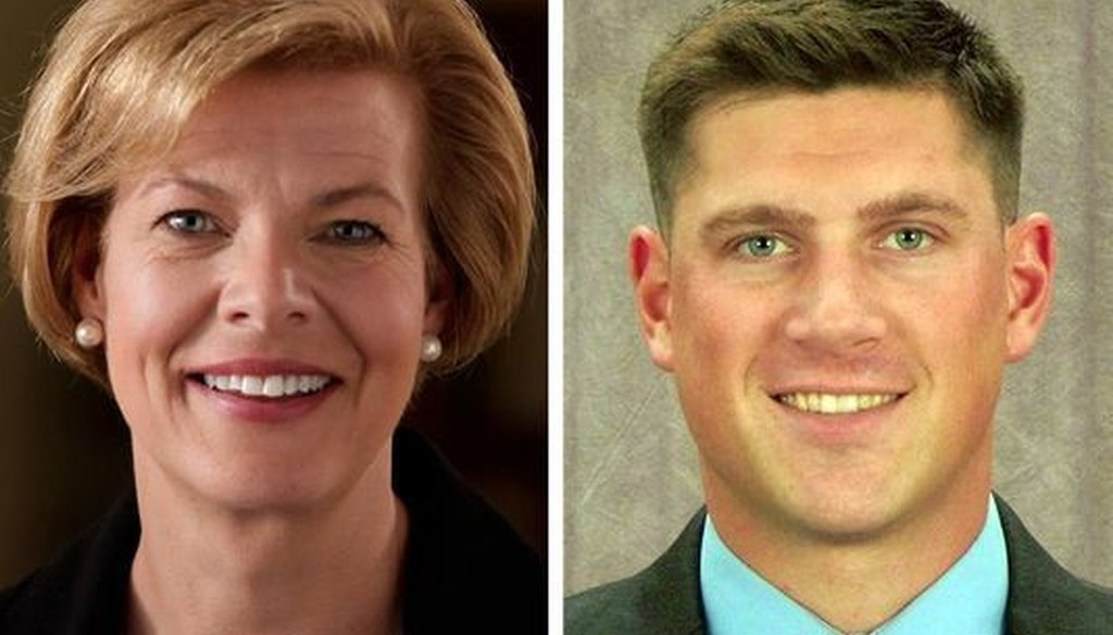 Democratic first-term U.S. Sen. Tammy Baldwin is being challenged by political newcomer Kevin Nicholson and another Republican, Leah Vukmir (not pictured). Nicholson, a former Marine, has hit Baldwin on defense issues.