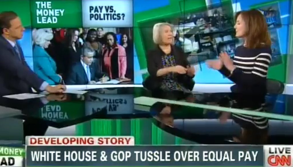 "Former White House adviser Anita Dunn and conservative pundit Genevieve Wood debated the pay gap on CNN's ""The Lead with Jake Tapper."""