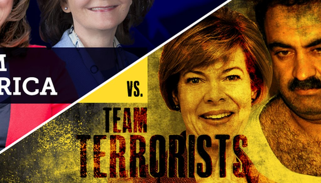 Republican Leah Vukmir's U.S. Senate campaign produced this image depicting Democratic U.S. Sen. Tammy Baldwin with Khalid Sheikh Mohammed, mastermind of the 9/11 terrorist attacks. Vukmir later made a claim related to the pair that we're fact checking.