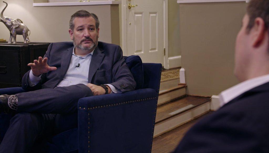 U.S. Sen. Ted Cruz speaks with political reporter Jonathan Swan of Axios