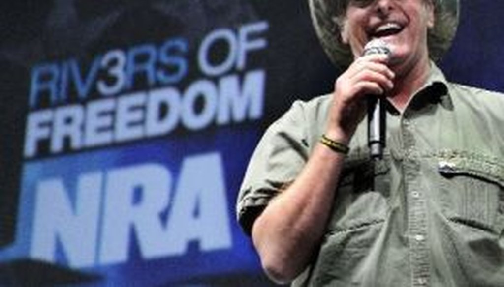 Rocker and gun-rights activist Ted Nugent addresses a seminar at the National Rifle Association's convention in Pittsburgh on May 1, 2011.