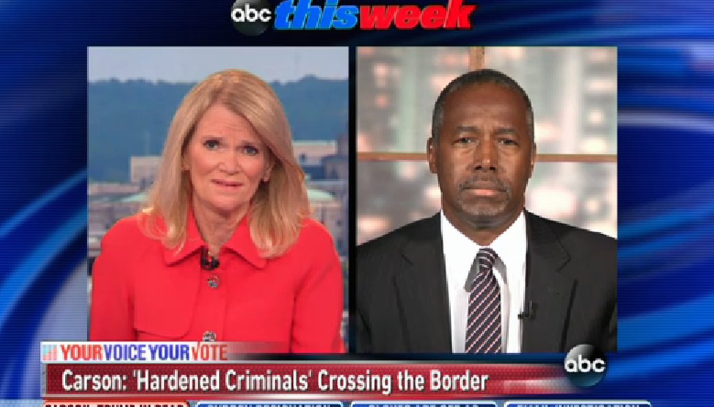 "Ben Carson appeared on ""This Week"" on Sept. 27, 2015. (ABC News)"