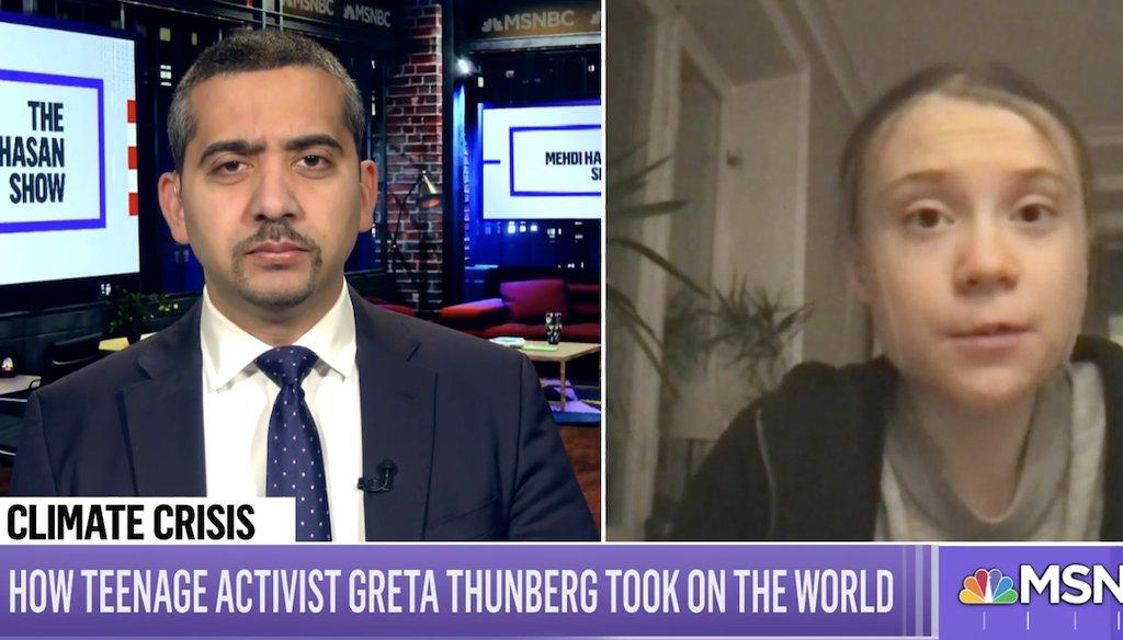 Swedish climate change activist Greta Thunberg is interviewed on MSNBC. (Screenshot)