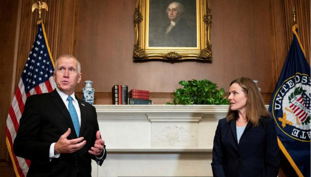 NC Sen. Thom Tillis meets with Judge Amy Coney Barrett at the event announcing her nomination to the Supreme Court. (Photo: REUTERS)