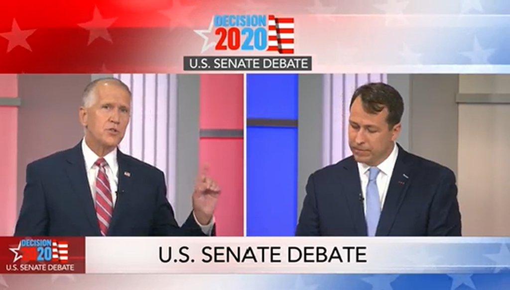 U.S. Sen. Thom Tillis and Cal Cunningham spar during a debate on WRAL on Sept. 14, 2020.