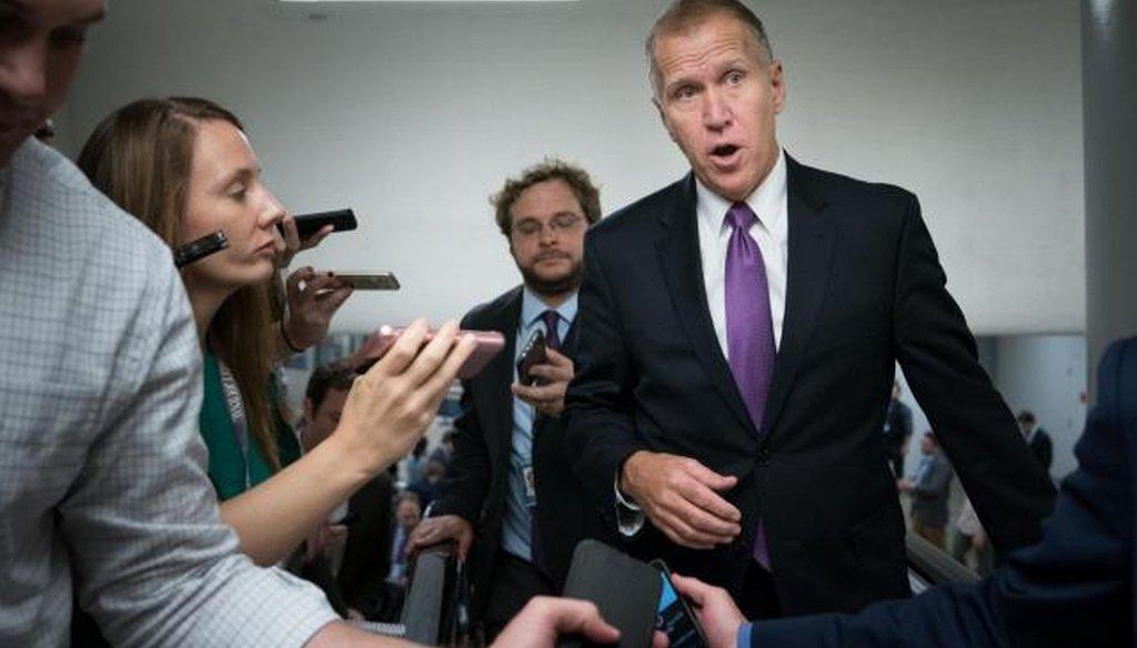 U.S. Senator Thom Tillis in 2018. (WRAL file photo courtesy of the New York Times)