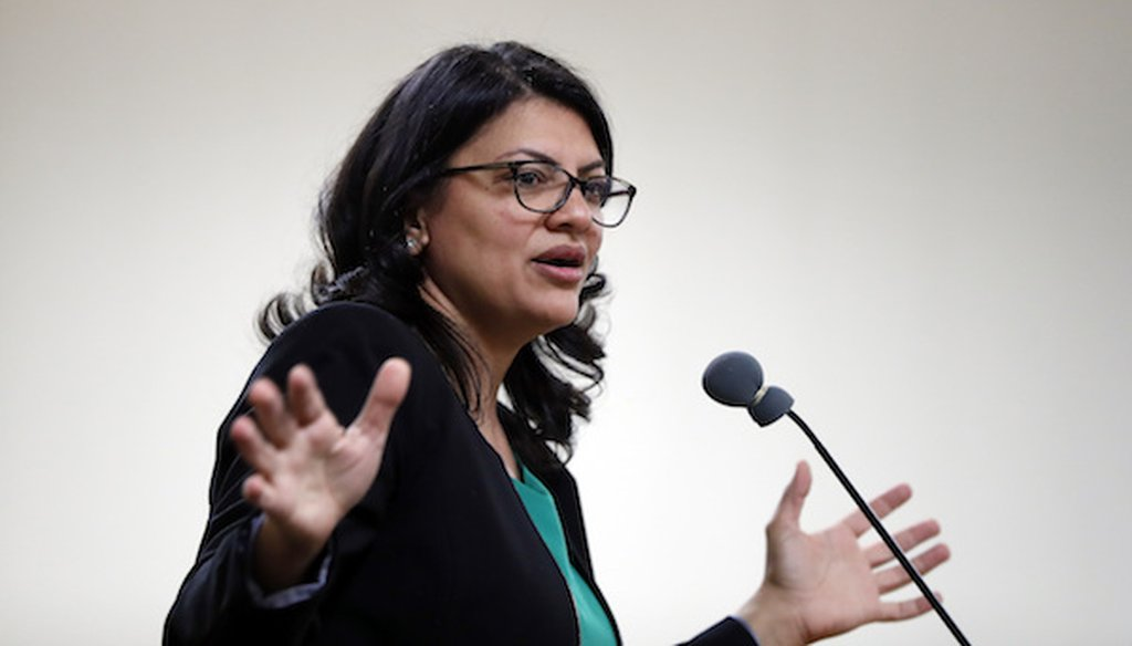 Rashida Tlaib, Democratic candidate for Michigan's 13th Congressional District, speaks at a rally in Dearborn, Mich., Friday, Oct. 26, 2018. (AP)