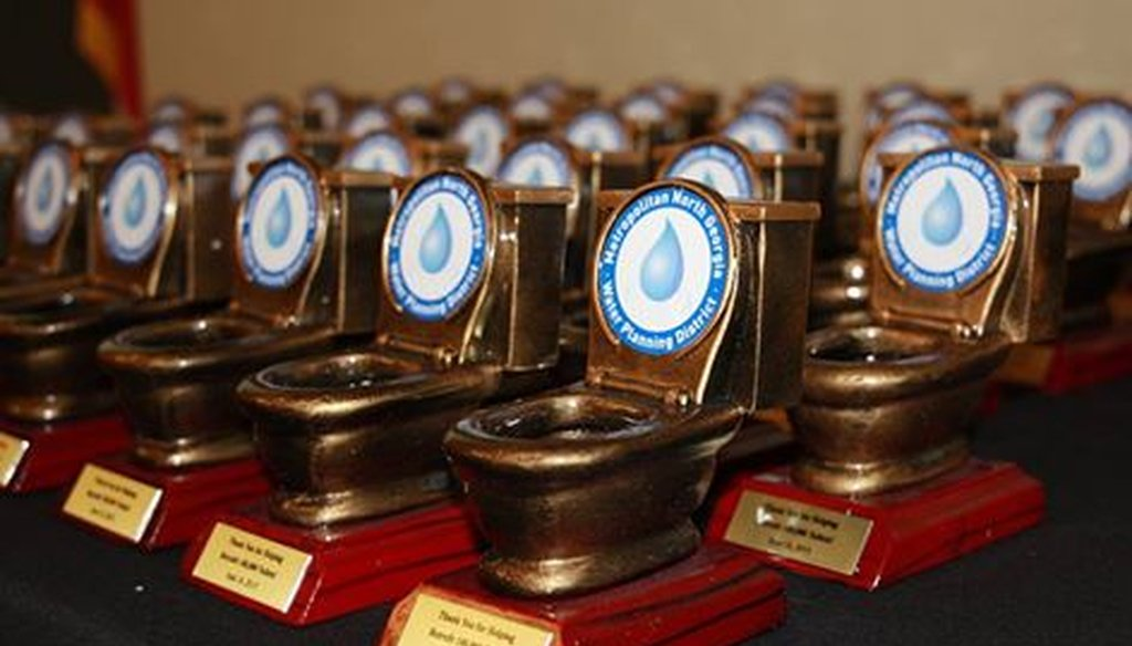 The trophies from the Metropolitan North Georgia Water Planning District celebrating its toilet rebate program. Source: Atlanta Regional Commission
