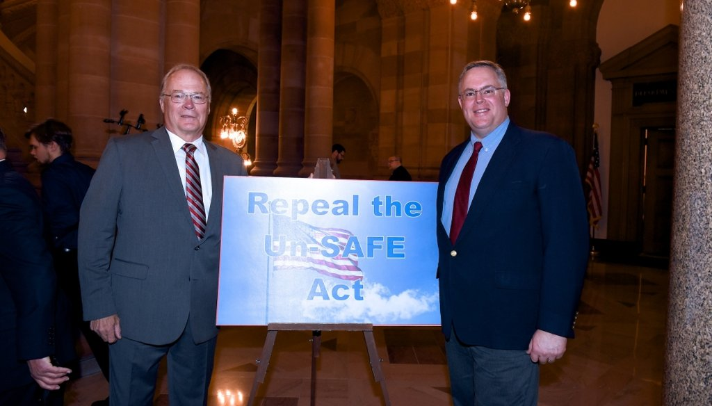 Tom King (left), the president of the New York State Rifle and Pistol Association, said a bill in Congress would ban all semi-automatic weapons. (Courtesy: Assemblyman Dan Stec's website)