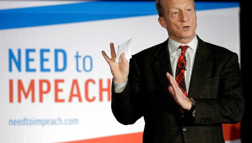 "In this March 13, 2019, photo, billionaire investor and Democratic activist Tom Steyer speaks during a ""Need to Impeach"" town hall event in Agawam, Mass / Associated Press"