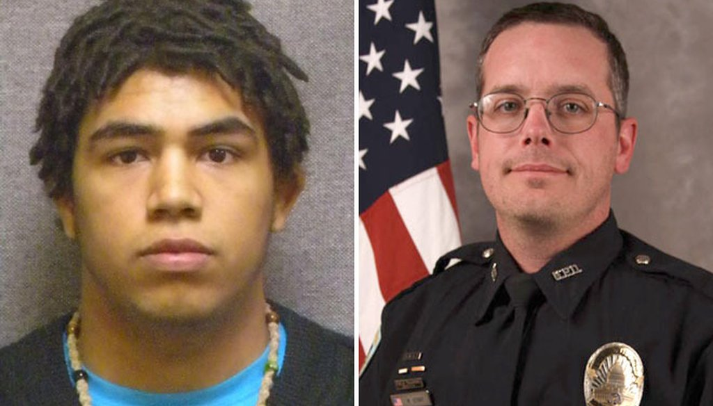 Tony T. Robinson Jr., 19, seen at left in a state Department of Corrections mugshot, was shot and killed on March 6, 2015 by Madison police officer Matt Kenny. (AP photo)