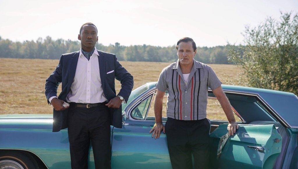 Mahershala Ali, left, and Viggo Mortensen, right, as Dr. Donald Shirley and Tony Vallelonga in the Oscar-nominated Green Book. (Courtesy of Universal Pictures)