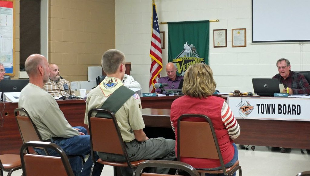 The town board in Vernon, near Milwaukee, honored an Eagle Scout during a meeting in 2015. (Erik Hanley photo)