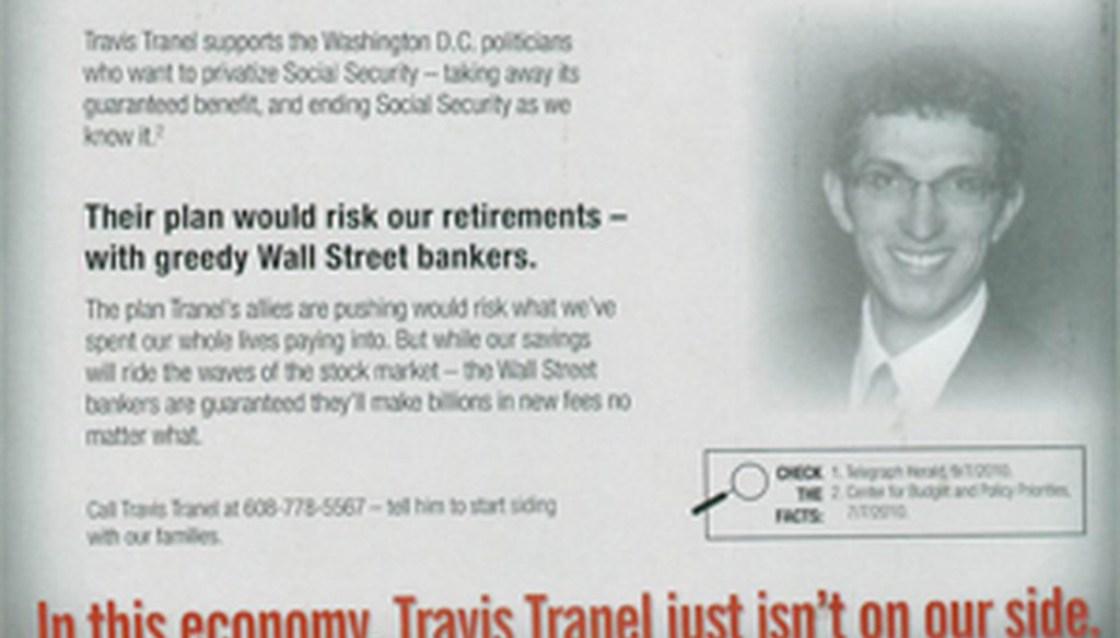 Campaign literature distributed by the Greater Wisconsin committee against a Wisconsin state Assembly candidate (back)