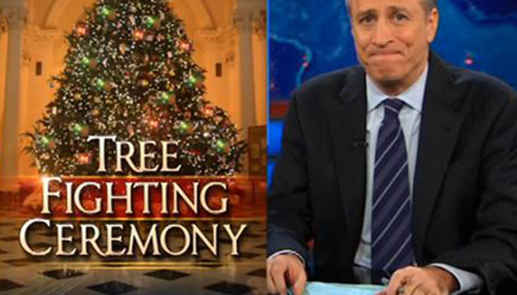 "Jon Stewart during Comedy Central's ""The Daily Show"" on Dec. 6, 2011"