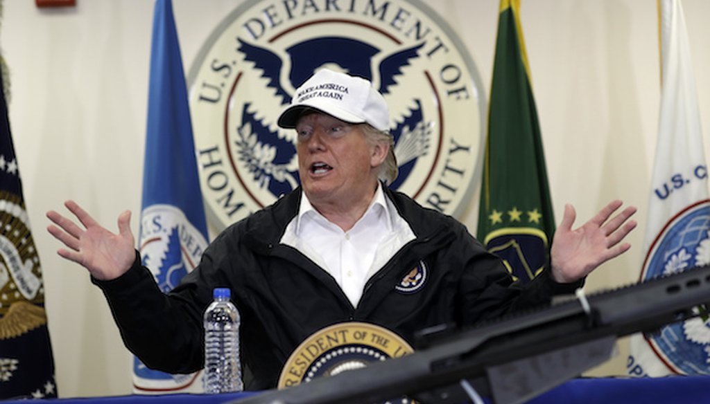 President Donald Trump speaks at a roundtable on immigration and border security at U.S. Border Patrol McAllen Station, during a visit to the southern border, Thursday, Jan. 10, 2019, in McAllen, Texas. (AP)