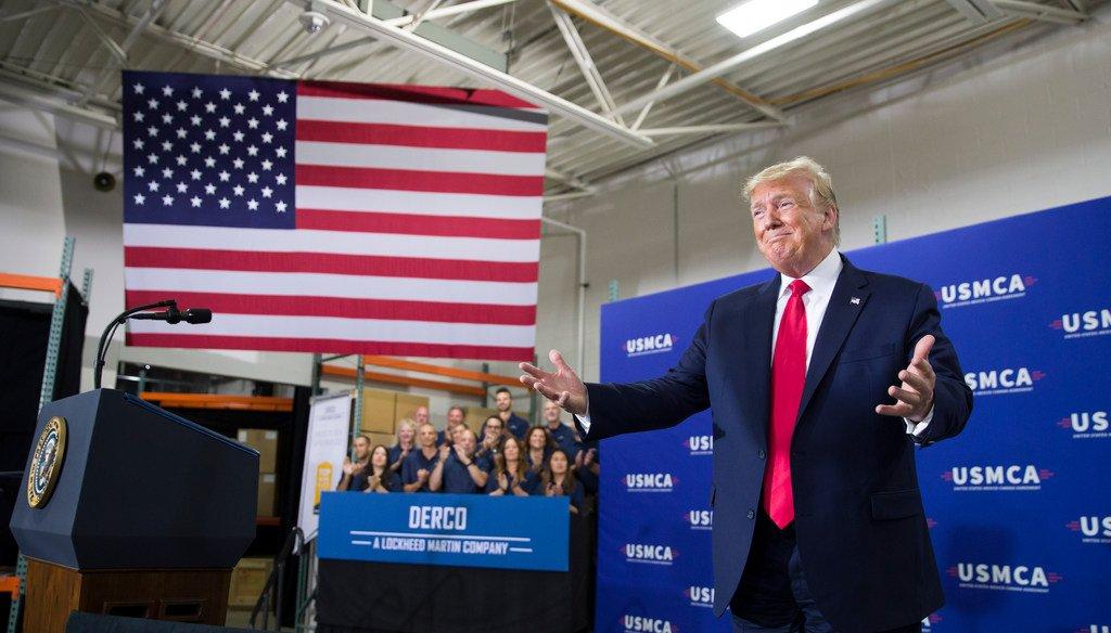 President Donald Trump speaks at Derco Aerospace on July 12, 2019. AP Photo/Alex Brandon