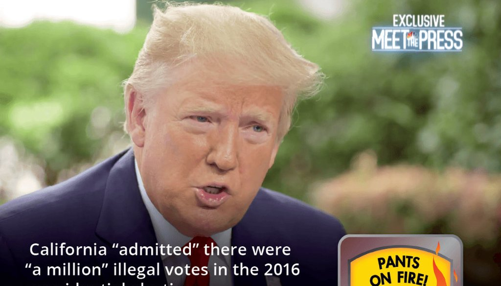 "President Trump claimed on ""Meet the Press"" there's proof to support his repeatedly debunked claim that ""serious voter fraud"" took place in California during the 2016 presidential election."
