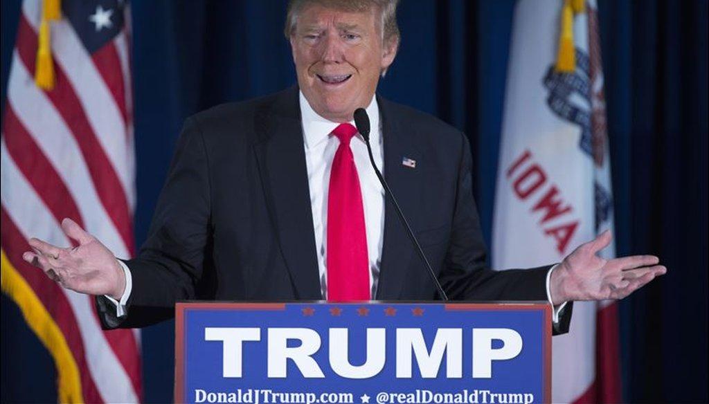 Donald Trump campaigned in Norwalk, Iowa on Jan. 20, 2016. (Associated Press)