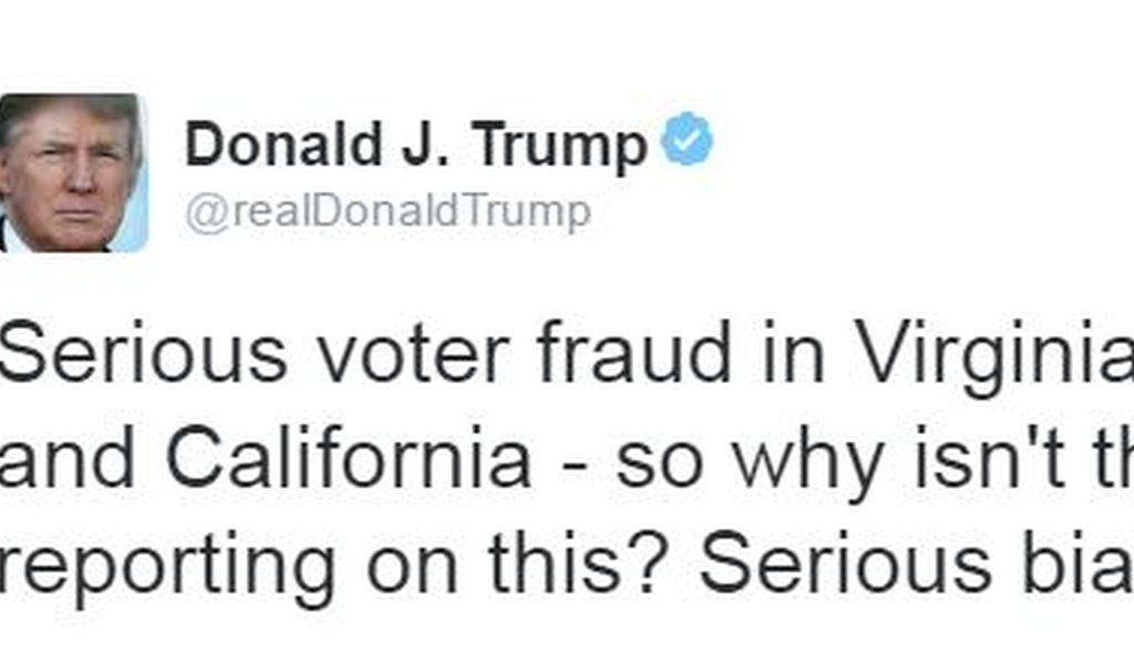 "Trump tweets claim of ""serious voter fraud in Virginia, New Hampshire and California."""