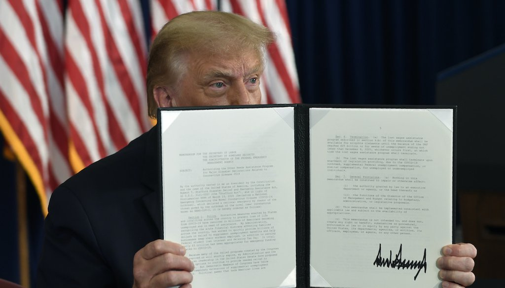 President Donald Trump signs an executive order during a news conference at the Trump National Golf Club in Bedminster, N.J. (AP Photo/Susan Walsh)