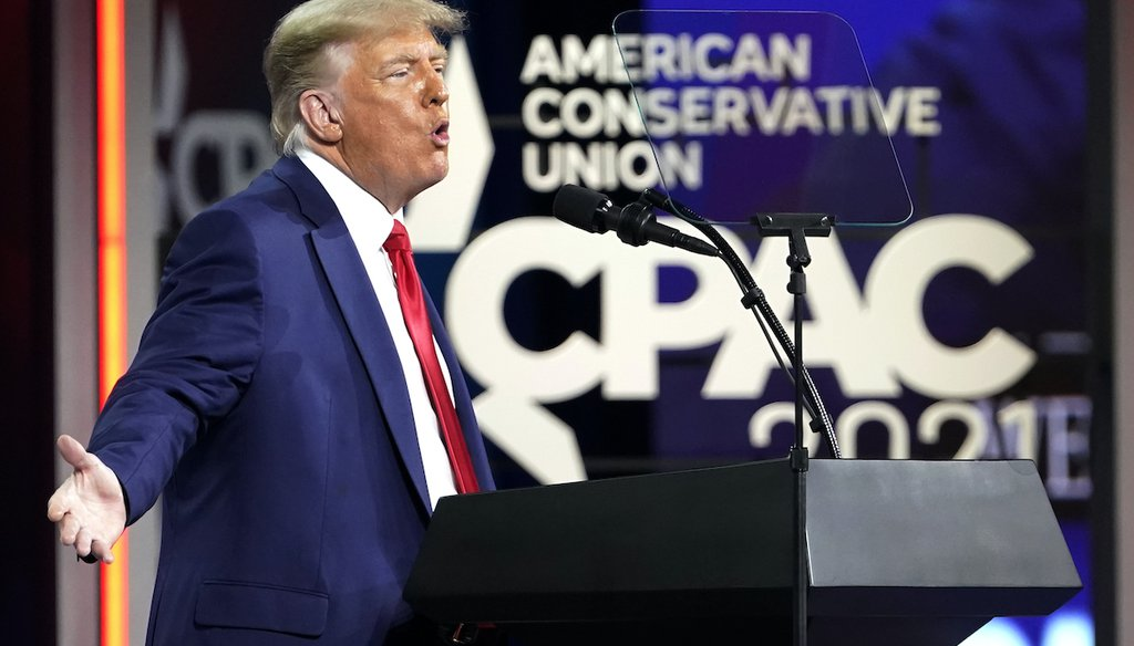 Former President Donald Trump speaks at the Conservative Political Action Conference (CPAC), Sunday, Feb. 28, 2021, in Orlando, Fla. (AP)