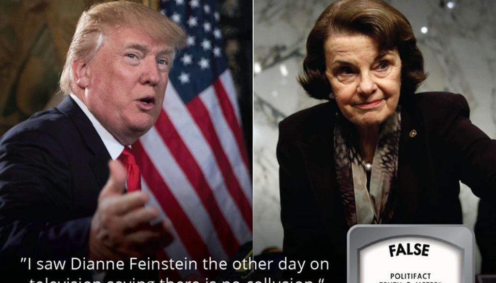 "President Trump falsely claimed Sen. Feinstein said ""there is no collusion."" In reality, Feinstein said collusion is ""an open question."""