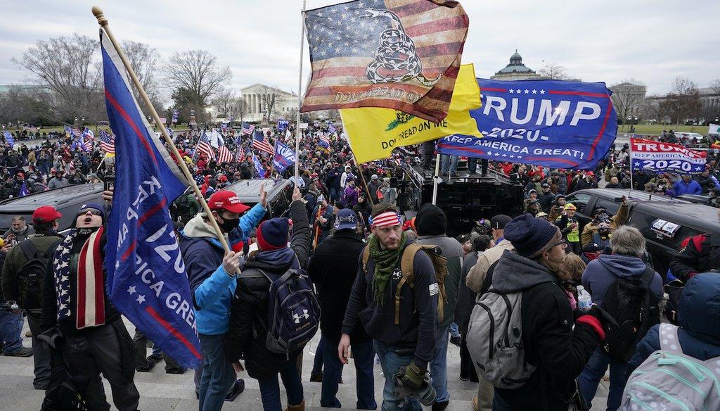 Trump supporters gather outside the Capitol on Jan. 6, 2021, in Washington. (AP/Balce Ceneta)