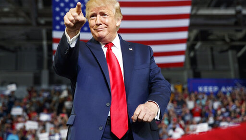 President Donald Trump gestures to the crowd as he arrives to speak at a campaign rally at Williams Arena in Greenville, N.C., Wednesday, July 17, 2019. (AP)