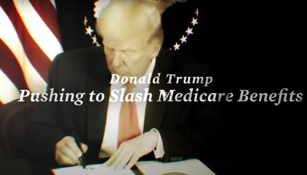 A Joe Biden ad claims President Donald Trump wants to slash Medicare benefits. PolitiFact rates that Half True. (Screenshot)