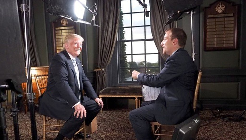 "NBC's Chuck Todd interviews Republican presidential nominee Donald Trump for the July 24 edition of ""Meet the Press"" about Tim Kaine, Bernie Sanders and his comments about NATO. (NBC)"