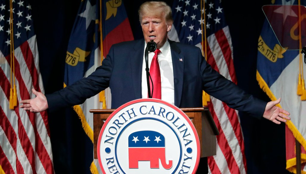 Former President Donald Trump speaks at the North Carolina Republican Convention in Greenville, N.C., on Saturday, June 5, 2021. (AP)