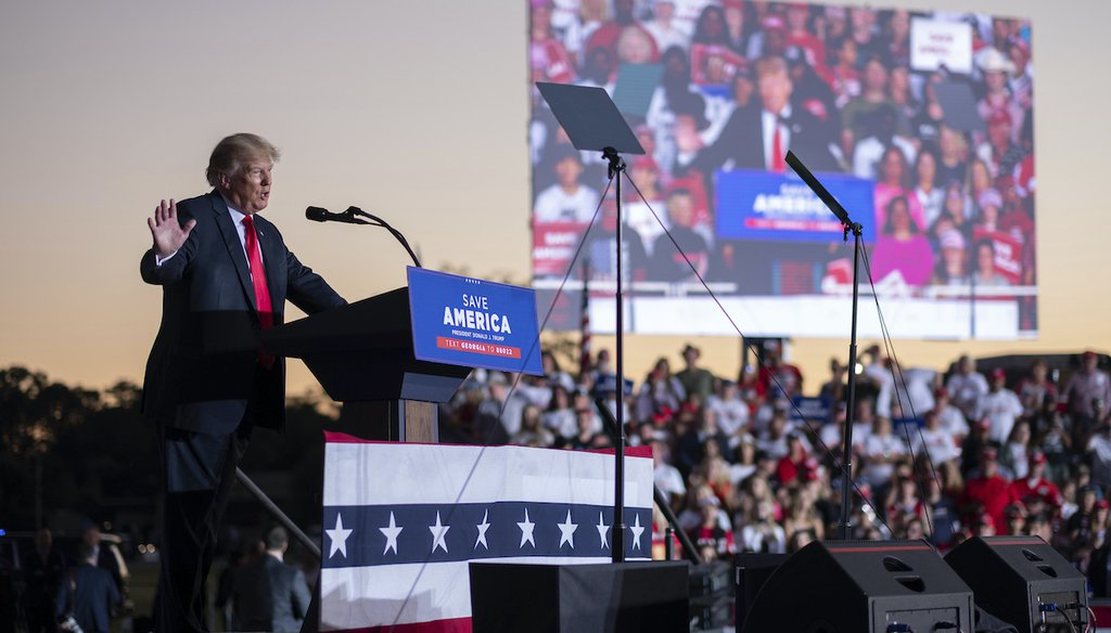 Former President Donald Trump speaks during his Save America rally in Perry, Ga., on Saturday, Sept. 25, 2021. (AP)