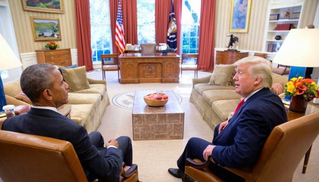 President Barack Obama and President-elect Donald Trump meet in the Oval Office for the first time. (Wikimedia commons)