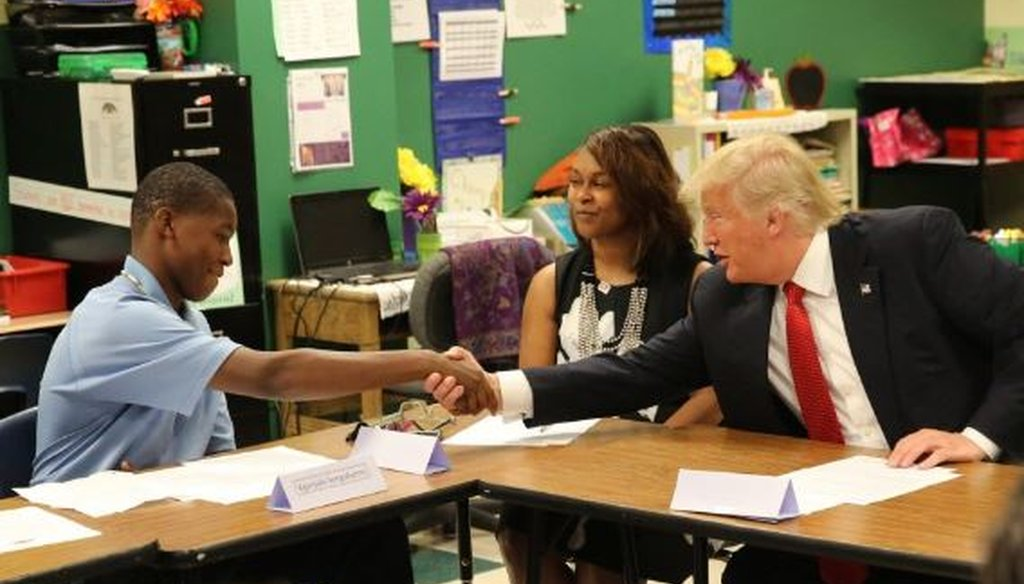 Donald Trump visited the Cleveland Arts and Social Sciences Academy Sept. 8
