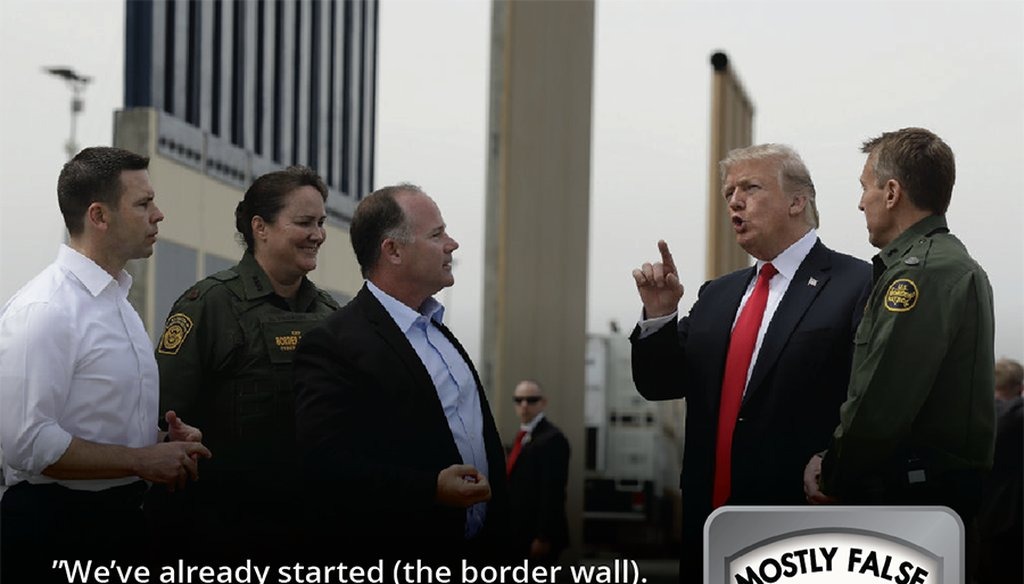 President Donald Trump reviews border wall prototypes, Tuesday, March 13, 2018, in San Diego. Evan Vucci / AP Photo