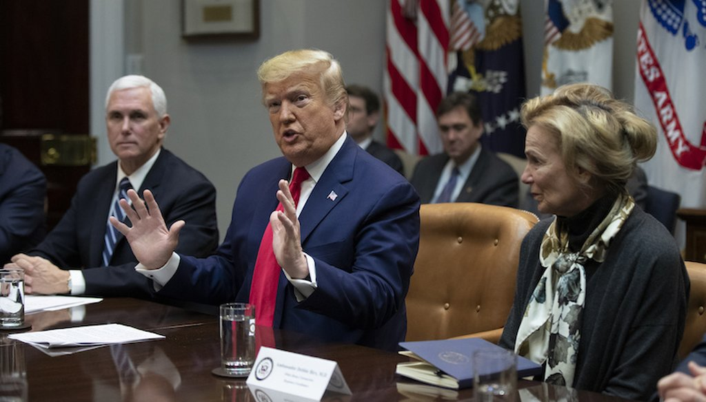 President Donald Trump with Vice President Mike Pence and White House coronavirus response coordinator Dr. Deborah Birx, speaks during a coronavirus briefing with Airline CEOs at the White House.(AP Photo/Manuel Balce Ceneta)