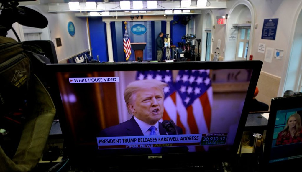 President Donald Trump is seen on a network monitor after his pre-recorded farewell speech was released, inside the Brady Press Briefing Room at the White House on Jan. 19, 2021. (AP)