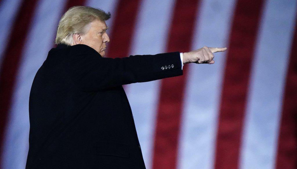 President Donald Trump speaks at a campaign rally in support of Senate candidates Sen. Kelly Loeffler, R-Ga., and David Perdue in Dalton, Ga., Monday, Jan. 4, 2021. (AP)