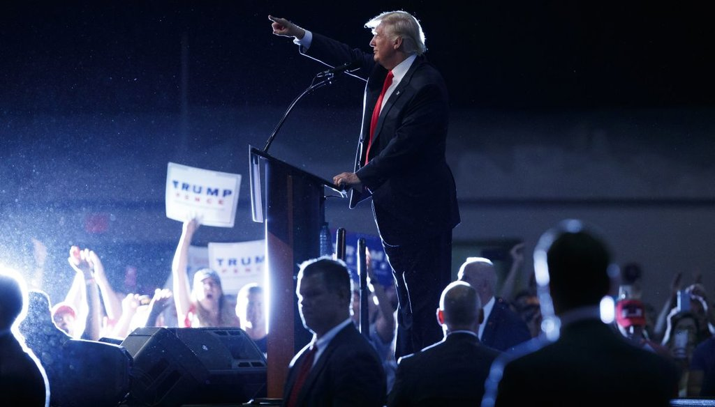 Republican presidential candidate Donald Trump speaks during a campaign town hall at Ocean Center in Daytona Beach, Fla. (AP)