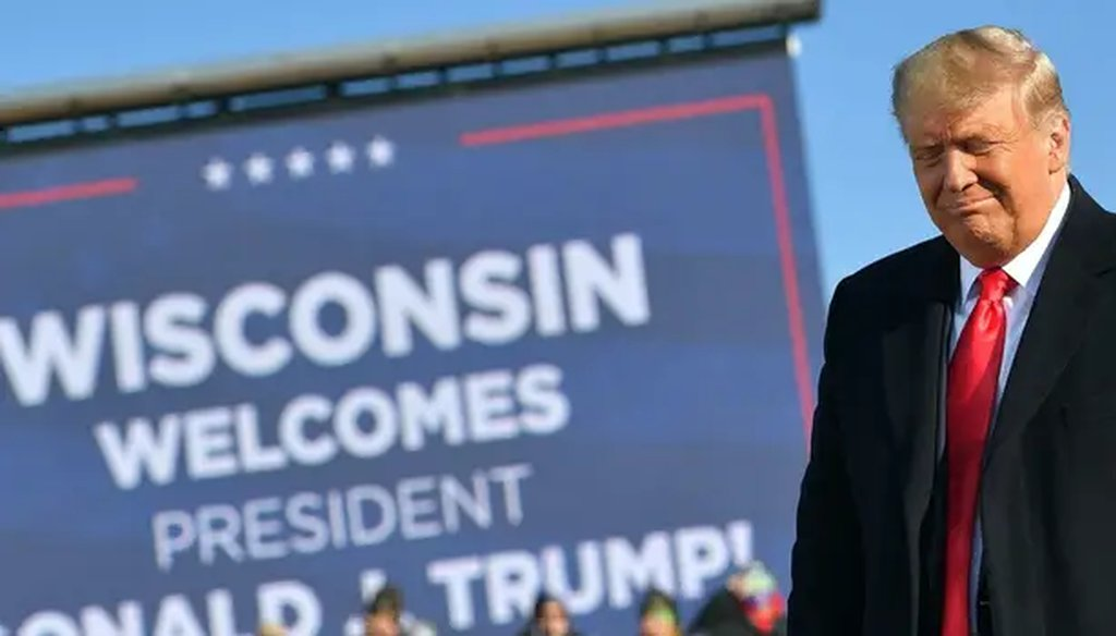 President Donald Trump arrives to a campaign rally at Green Bay Austin Straubel International Airport in Green Bay, Wisconsin, on October 30, 2020. MANDEL NGAN/AFP via Getty Images