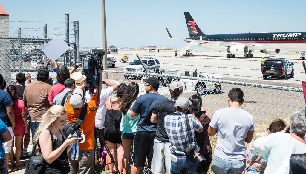 Republican presidential candidate Donald Trump leaves in his private jet after his trip to the border on July 23, 2015 in Laredo, Texas. (Getty Images)