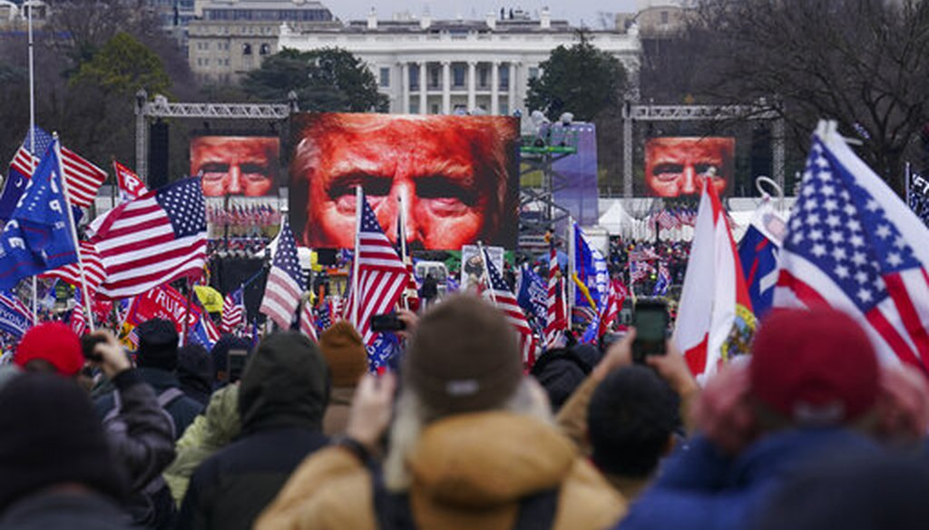 Trump supporters participate in a rally Wednesday, Jan. 6, 2021 in Washington. (AP)