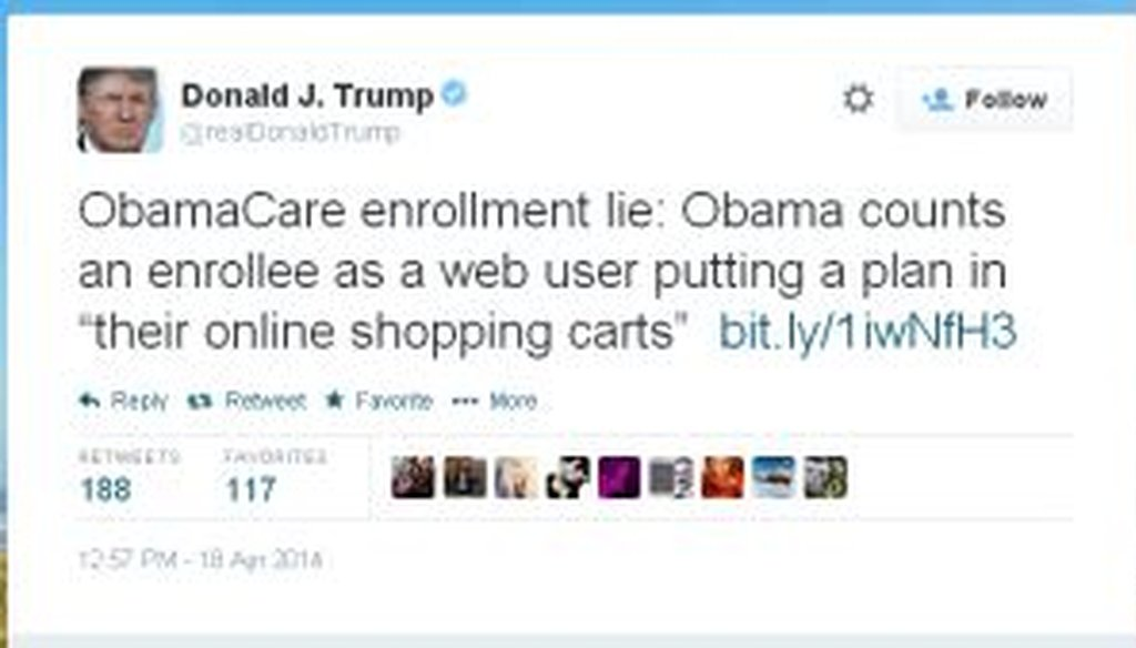 Billionaire Donald Trump sent this tweet to cast doubt on the enrollment numbers for the new health care program.