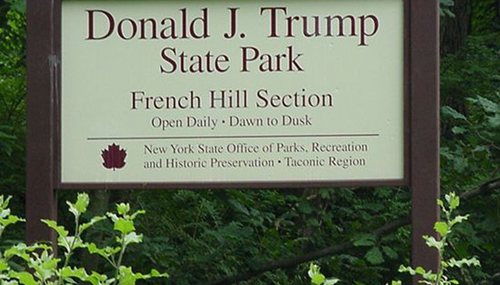A sign at the entrance to Donald J. Trump State Park in New York in 2008 (Alan Kroeger, Wikimedia Commons)